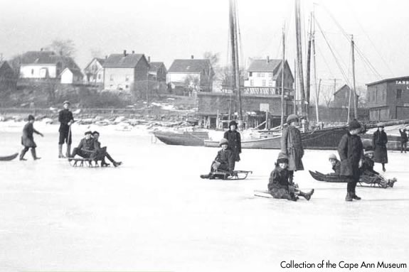 Cape Ann Museum Collection. Kids skating on frozen Gloucester Harbor