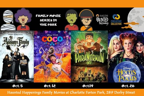 Outdoor Movies on Saturday in October at Charlotte Forten Park in Salem, MA.