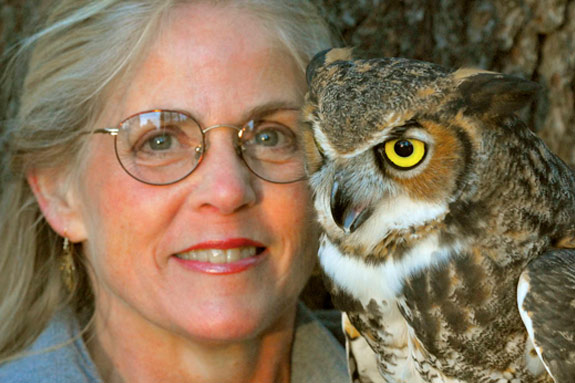 Marcia Wilson and friend from 'Eyes on Owls'. Photo ©Mark Wilson