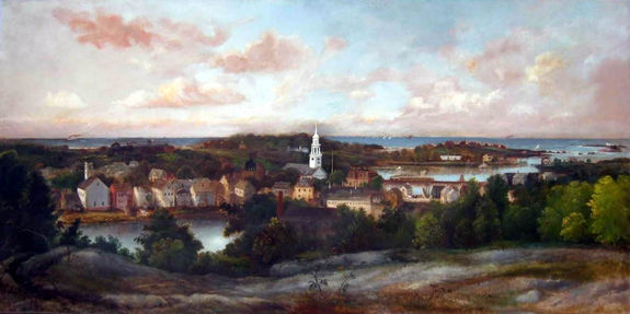 A painting of Manchester from Powder House Hill by Joshua Sheldon that hangs in