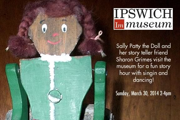 Sally Patty the Doll and Story-Teller Sharon Grimes visits the Ipswich Museum