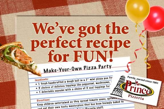 Make it Yourself Prince Pizza Party at Prince Pizzeria