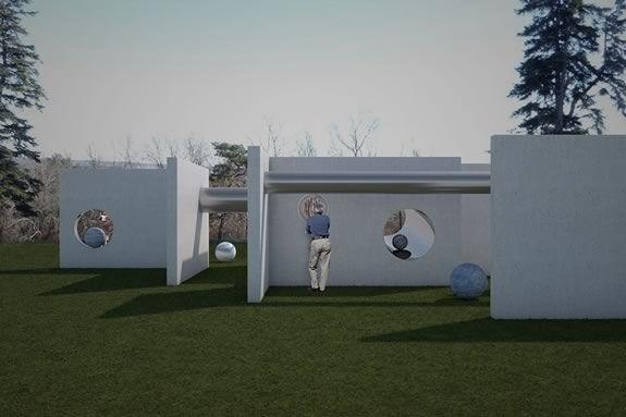 Art & the Landscape: Alicja Kwade: TunnelTeller at the Crane Estate in Ipswich Massachsuetts