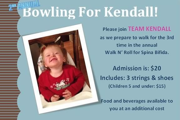 Bowling for Kendall is a fundraiser for Spina Bifida Walk n' Roll - Team Kendall
