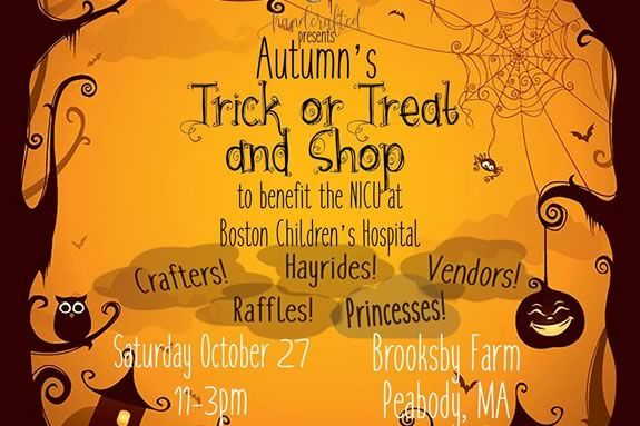 Come trick or treat and shop at Brooksby Farm in Peabody and raise funds for the NICU at Children's Hostpital!