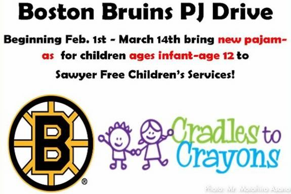 Drop off new pajama donations at Sawyer Free Library in Gloucester Massachusetts!