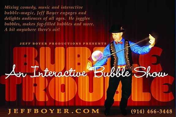 Bubble Trouble is an interactive stage show that highlights the magic of bubbles