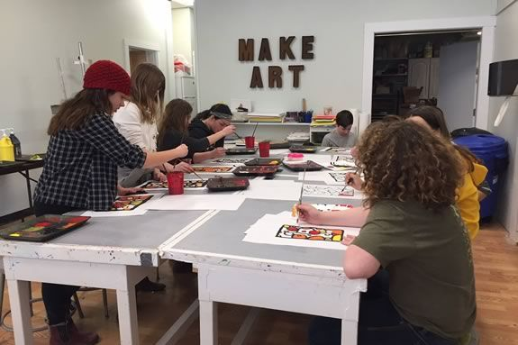 Art Haven hosts an open studio every Friday night in downtown Gloucester