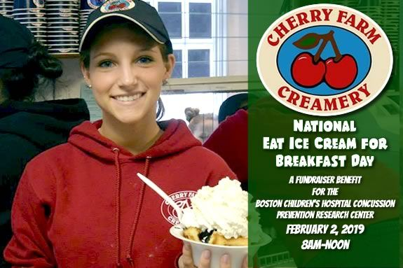 Eat ice cream for breakfast at Cherry Farm Creamery in Danvers and raise funds for the The NHL Alumni Corey C. Griffin ProAm Fund for Boston Children's Hospital Concussion Prevention Research Center