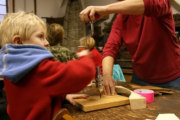 Kids are encoruaged to experiment with woodworking and sculpture at the Essex Shipbuilding Museum!
