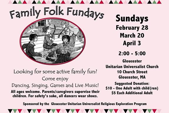 Come to Family folk Fundays at the UU Church on Middle Street in Gloucester, Massachusetts!