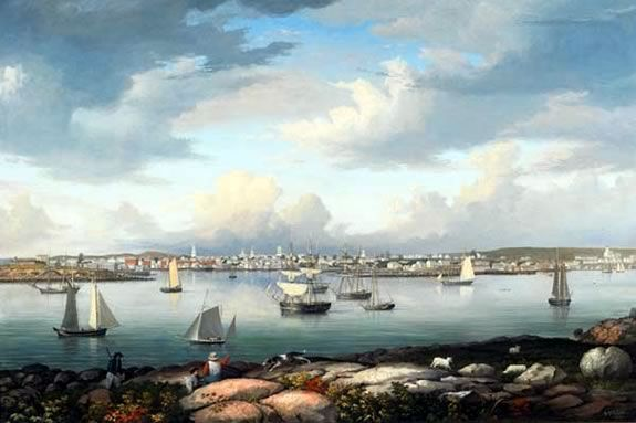 Gloucester Harbor from Rocky Neck by Fitz Henry Lane (1844) at Cape Ann Museum in Gloucester, Massachusetts