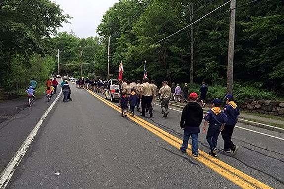 The boy scouts are active participants in the Hamilton Ma Memorial Day Parade