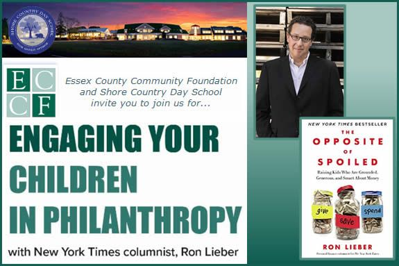 ECCF, in partnership with Shore Country Day School, for this motivating seminar that gives parents ways to engage their children in the concept of giving back. Ron Lieber will lead this session on: How to talk to kids about money.