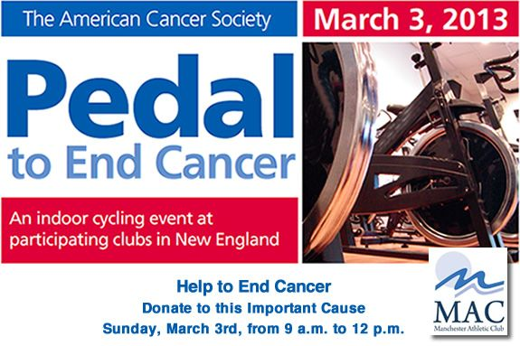 Pedal to End Cancer American Cancer Society Manchester Athletic Club