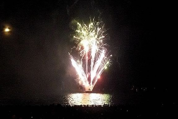 Manchester's Fireworks display is launched from a barge moored off Singing Beach