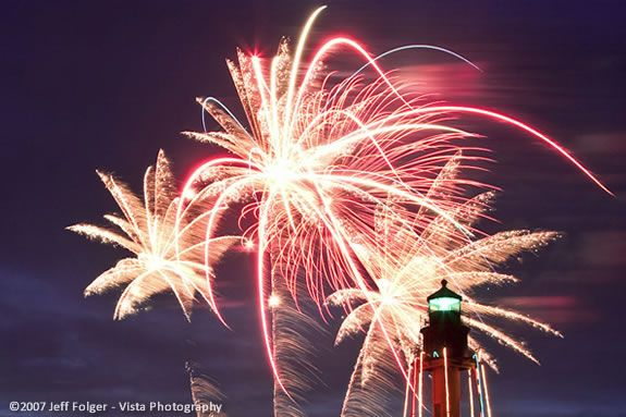 Marblehead Fireworks as seen from Chandler Hovey Park by Jeff Folger