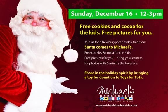 Come have cookies and cocoa with Santa at Michael's Harborside in NBPT!