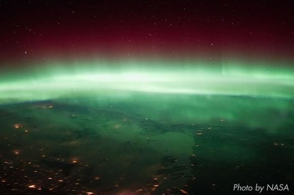 The Aurora Borealis seen over Winnepeg Canada from the NASA's ISS