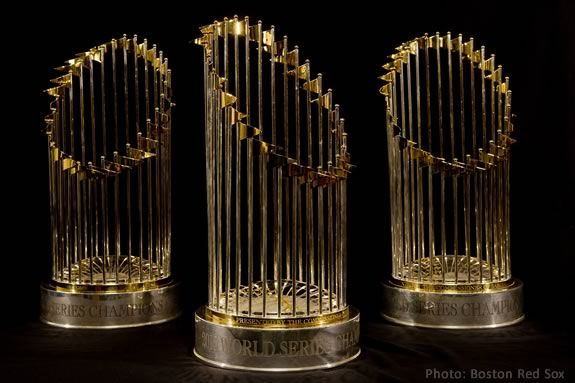 Get your photo taken with the Red Sox World Series Trophies!
