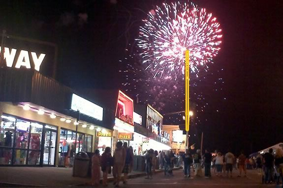 Fourth of July Fireworks at Salisbury Beach include a campfire and marshmallows