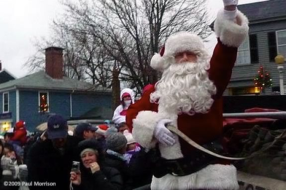Santa comes to Rockport Ma on Christmas Day as part of a 100 year old tradition