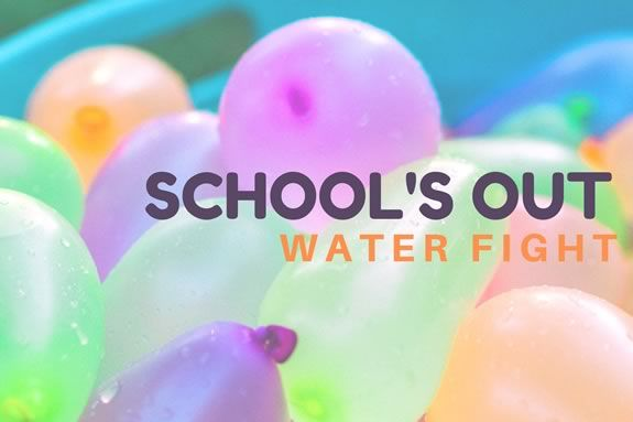 School's Out water balloon figth at the Trustees of Reservations' Stevens-Coolidge Estate in North Andover