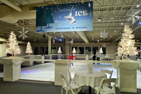 Glide around an indoor artificial ice rink as you skate to festive music, surrounded by sparkling snowflakes, mirror balls, and breathtaking views of the ocean.