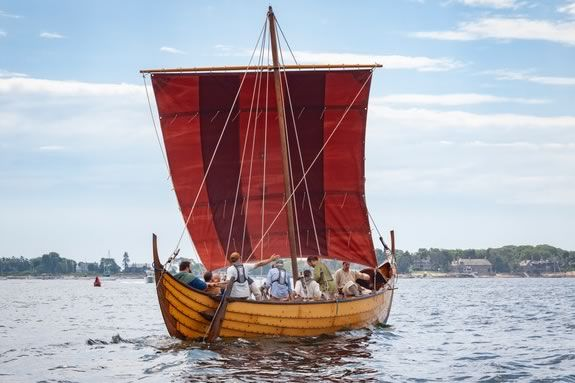 Vikings come to Derby Wharf in Salem Massachusetts as part of Trails and Sails!
