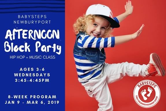 Baysteps Newburyport hosts an afternoon hip hop block party for kids 3-6 years old!