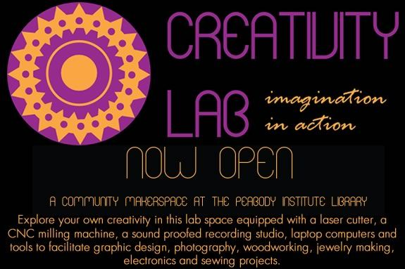 Peabody Library creativity lab is the perfect place for makers to collaborate!