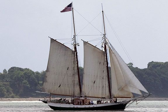 The Liberty Clipper Sails in Boston Harbor