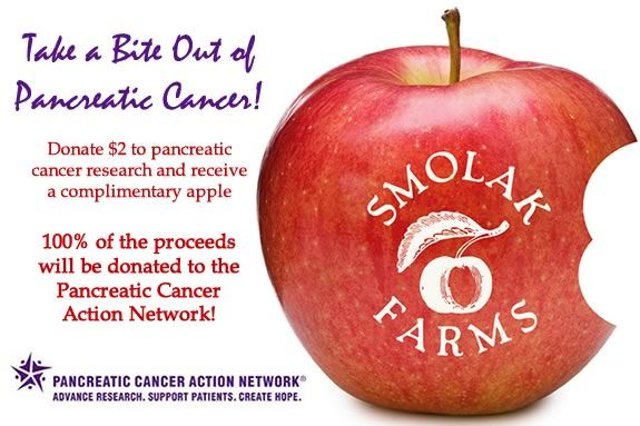 Donate $2 to Pancreatic Cancer Research and receive a complimentary fresh apple