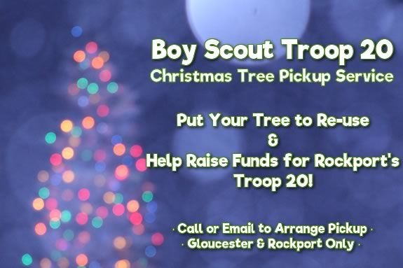 Help Rockport's Troop 20 raise funds for their programs while re-using the tree for mulch!