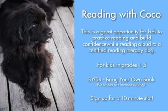 Kids can practice reading aloud with Coco a certified reading therapy dog at the Beverly Public Library