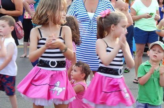 Danvers Family Festival Oldies Night street festival in Danvers Square. Massachusetts.