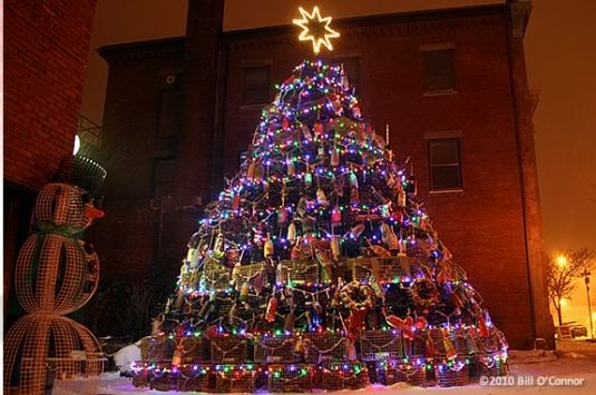 The lighting of the Lobster Trap Tree is part of Middle Street Walk's finale.