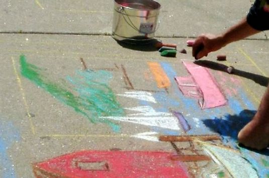 Sidewalk Chalk art at Motif #1 Day in Rockport Massachusetts - a day of family fun!