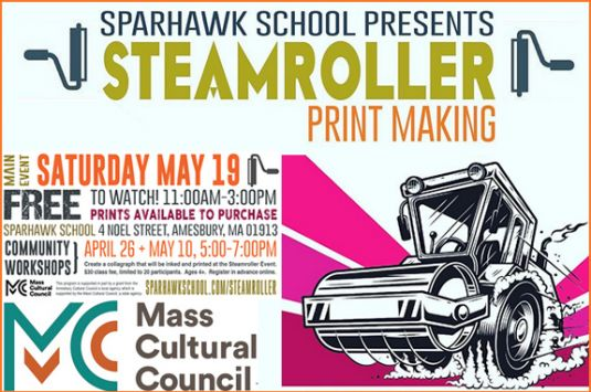 Steamroller Printmaking Workshop Sparhawk School - Amesbury